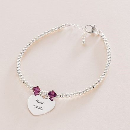 Birthstone Bracelet with Silver Beads and Engraving